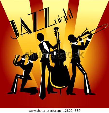 Abstract Jazz Band Jazz Music Party Stock Vector 128224358 ...