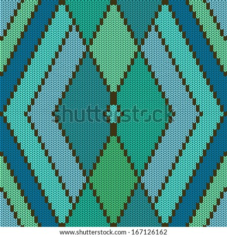 Abstract knitted pattern with rhombus - stock vector