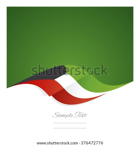 Abstract Kuwait flag ribbon green background - stock vector