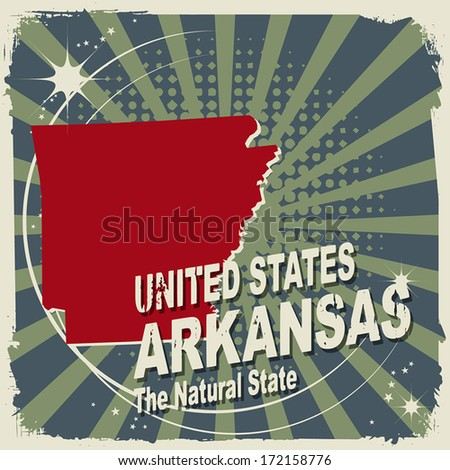 Abstract label with name and map of Arkansas, vector illustration - stock vector
