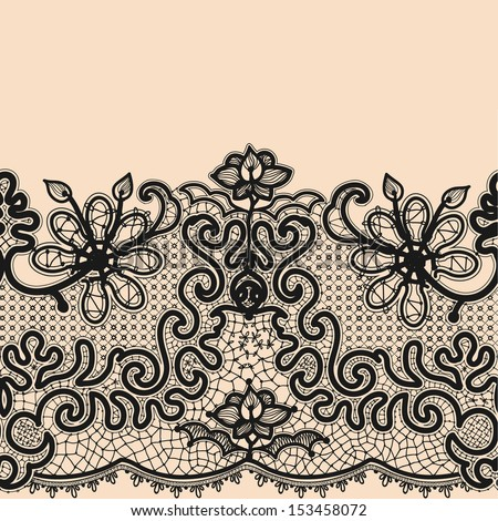 Abstract Lace Ribbon Seamless Pattern. Template frame design for card. Lace Doily. Can be used for packaging, invitations, and template. - stock vector