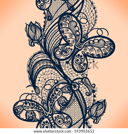 Abstract lace ribbon seamless pattern with elements flowers and butterfly.  - stock vector