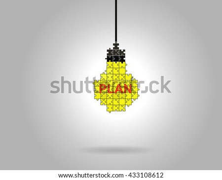 Abstract lamp of puzzle pieces - stock vector