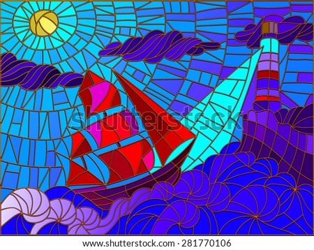 Abstract landscape with a sailboat against the sky, waves and glowing beacon. Color version - stock vector