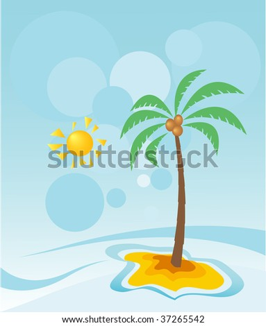 Abstract landscape with palm