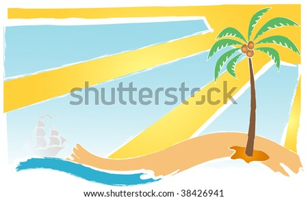 Abstract landscape with palm and ship