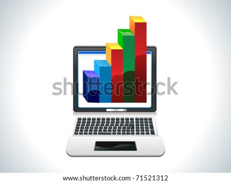 abstract laptop with business chart vector illustration