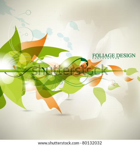 abstract leaf design in eps10 vector - stock vector