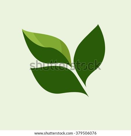 Abstract leafs care vector logo icon. Eco icon with green leaf. Vector illustration. - stock vector
