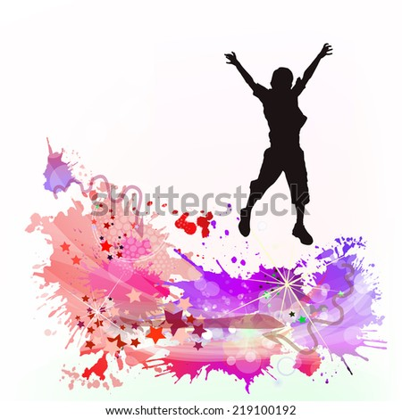 Abstract leaping boy. Vector - stock vector