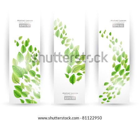 Abstract Leaves Banner Set - stock vector