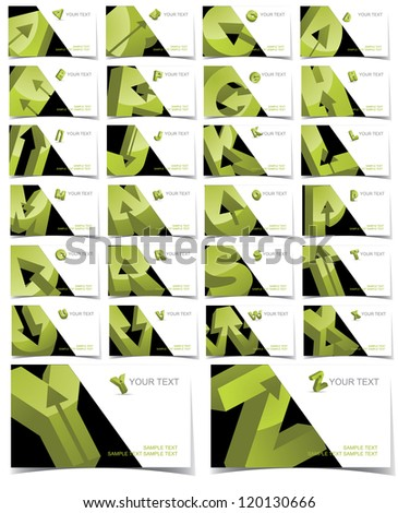 Abstract Letter A through Z alphabet symbol icon business card set EPS 8 vector, grouped for easy editing. No open shapes or paths. - stock vector