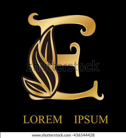 Abstract letter e logo design gold beauty stock vector 436544428 abstract letter e logo designgold beauty industry and fashion logosmetics business thecheapjerseys Gallery