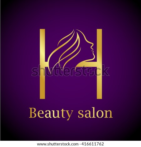 Gold h logo for Abstract beauty salon