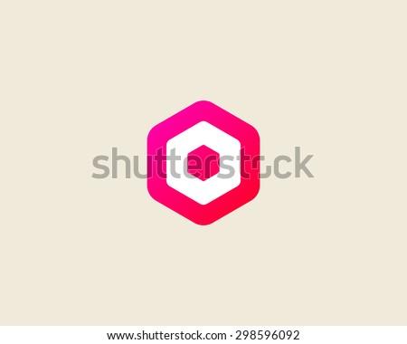 Abstract letter O logo design template. Colorful creative hexagon sign. Universal vector icon. - stock vector