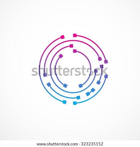 Abstract letter O logo design template,technology,electronics,digital,dot connection cross vector logo icon logotype - stock vector