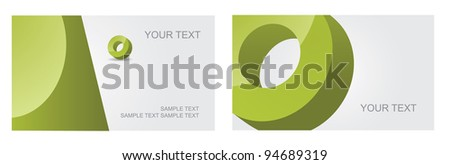 Abstract Letter O Symbol Icon Business Card Set EPS 8 vector, grouped for easy editing. No open shapes or paths. - stock vector