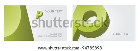 Abstract Letter P Icon Symbol Business Card Set EPS 8 vector, grouped for easy editing. No open shapes or paths.
