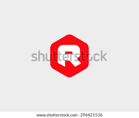 Abstract letter R logo design template. Colorful hexagon creative sign. Universal vector icon. - stock vector