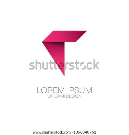 Abstract Letter T Logo Vector Design Origami Paper Symbol Icon Template
