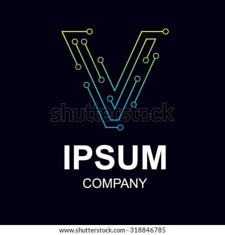 Abstract Letter V Logo Design Template Technology Stock Vector