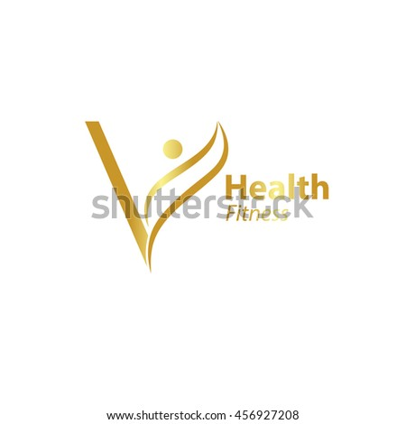 Abstract Letter V Logo Design Template With Health Fitness Gold