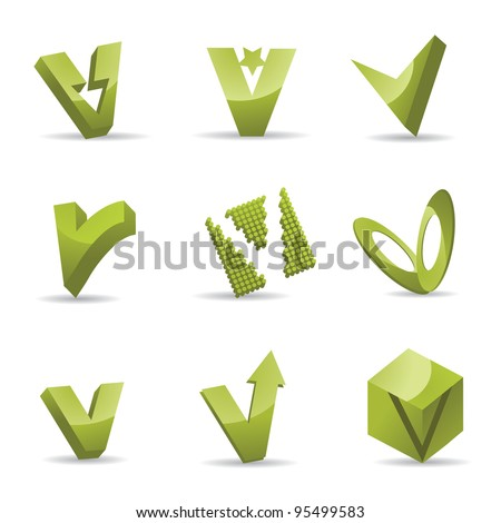 Abstract Letter V Logo Symbol Icon Set EPS 8 vector, grouped for easy editing. No open shapes or paths. - stock vector