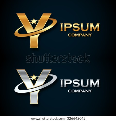 Abstract Letter Y Logogold Silver Star Stock Vector 326642042