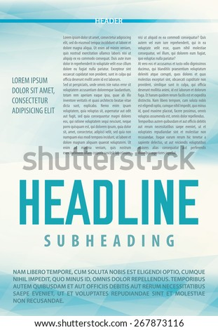 Abstract light blue background for article in newsletter, booklet or magazine. Template of publication. Blank vector layout. CMYK color mode - stock vector