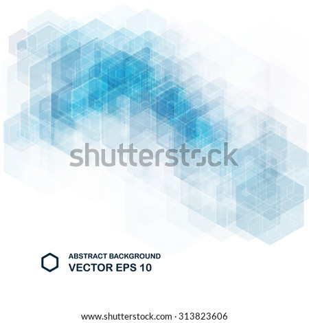 Abstract light blue background. Hexagonal pattern structure. Vector image. - stock vector