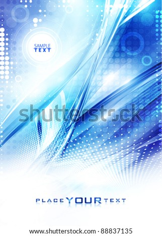 Abstract light digital background in winter colors. Vector