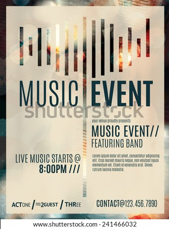 Abstract light effect flyer template layout for a live music event - stock vector