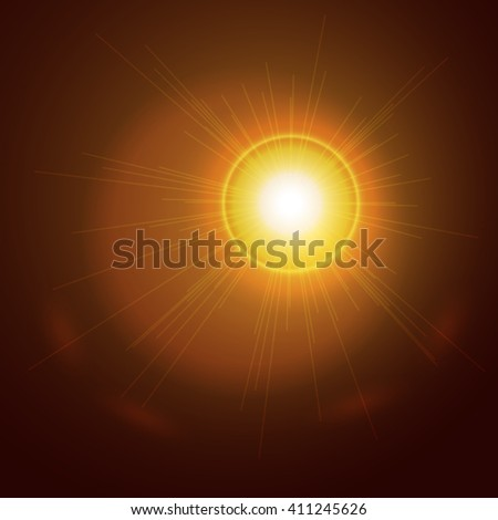 Abstract light gold sun background. Glowing sun ray. Glowing trace with magic sparkle. Vector transparent background