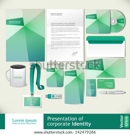 Abstract light green corporate identity - stock vector
