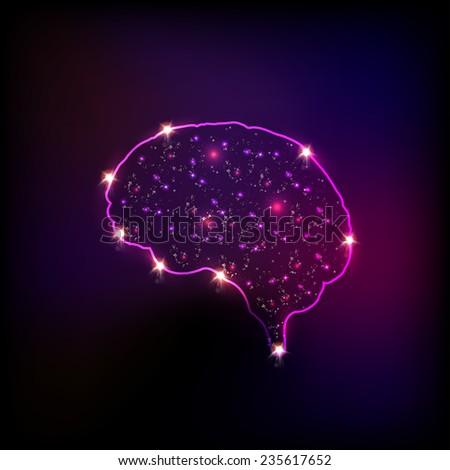 Abstract light human brain, easy editable - stock vector