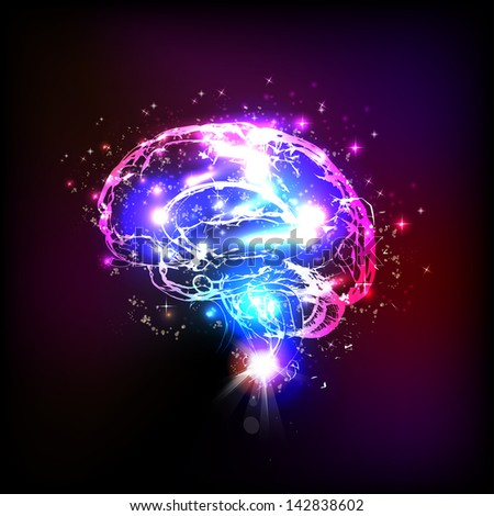 Abstract light human brain, vector illustration - stock vector