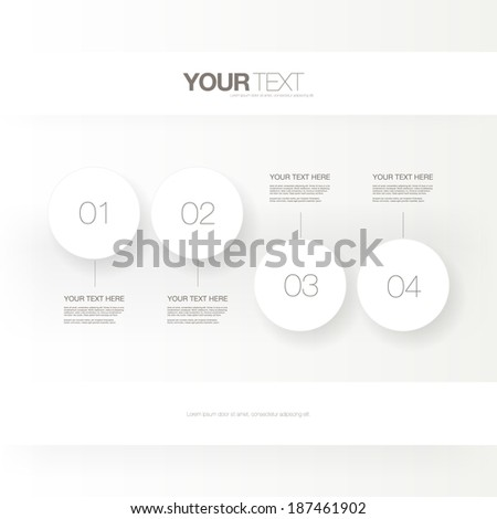 Abstract light numbered circles infographic design with your text and light background Eps 10 stock vector illustration  can be used for workflow layout, diagram, chart, number options, web design. - stock vector
