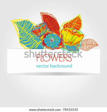 Abstract light vector background with bright flowers - stock vector