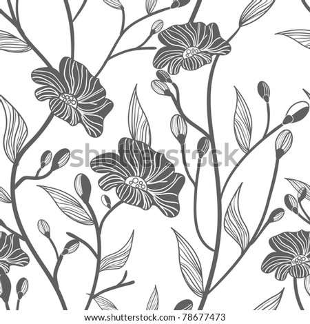Abstract light vector  background with drawing gray flowers - stock vector