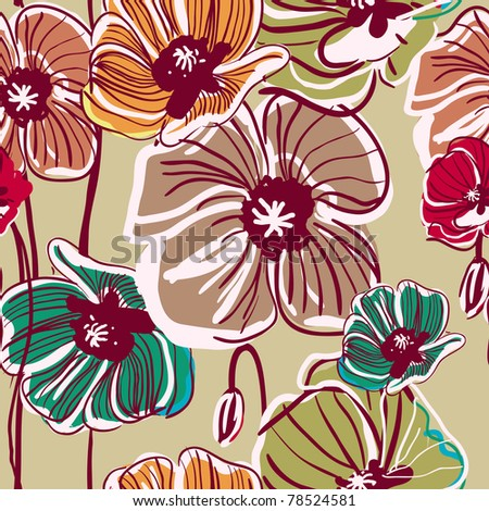 Abstract light vector  background with drawing multicolor poppy - stock vector