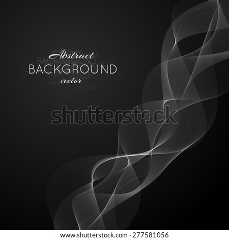 Abstract light white wave. Vector isolated transparent curly smoky element for your design. Background color can be changed by one click - stock vector