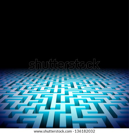 Abstract lightened perspective labyrinth in the darkness - stock vector