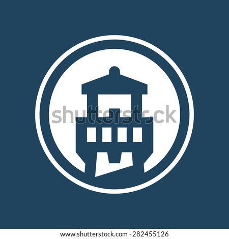 Abstract lighthouse icon logo graphic in circle shape - stock vector