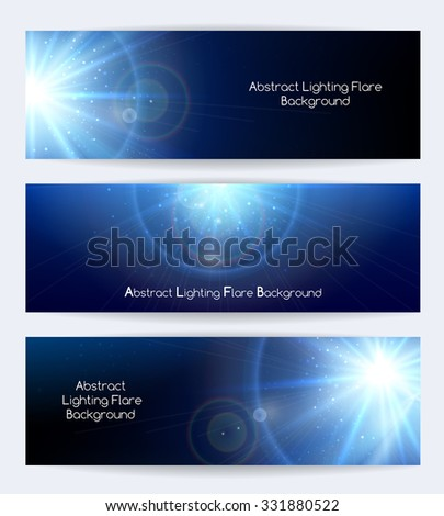 Abstract lighting flare vector banners. Ray and poster or card,  starburst light, vector illustration - stock vector