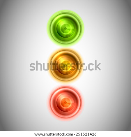 Abstract lighting stoplight. Green, yellow and red lights as semaphore. - stock vector