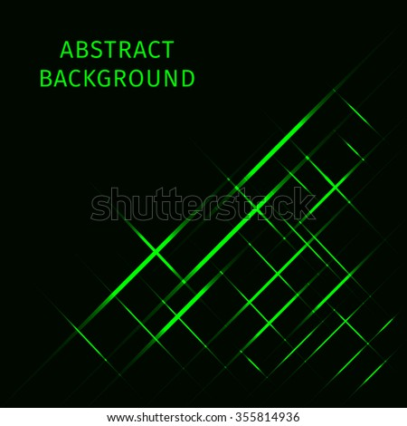 Abstract lights green strips on dark background - stock vector