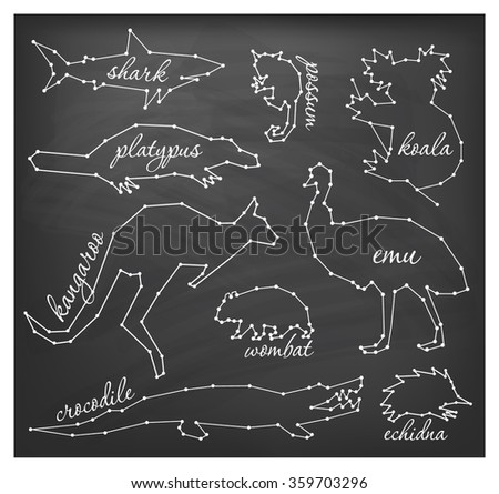 Abstract Line and Dot Australian Animals Set Vector Illustrations on Chalkboard - stock vector