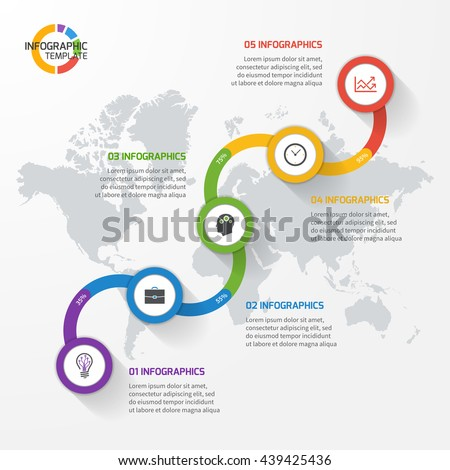 Abstract line graph infographic template for charts and diagrams. Business, education, industry, science concept with 5 values, options, parts, steps, processes. - stock vector