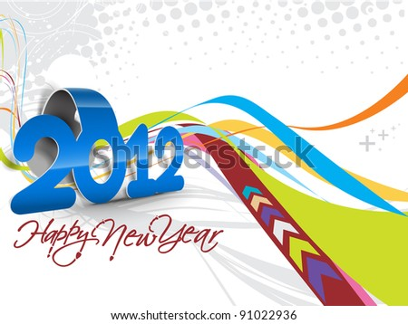 abstract line with curl ribborn new year 2012 background - stock vector