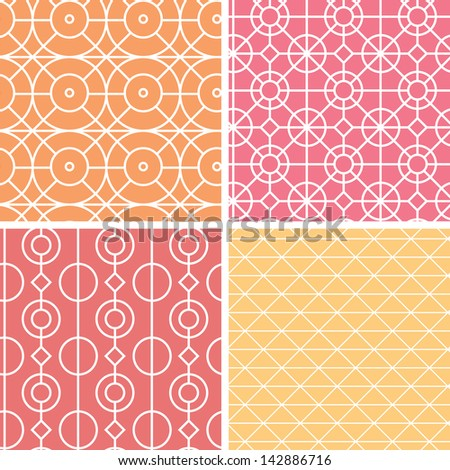 Abstract lineart geometric seamless patterns set - stock vector